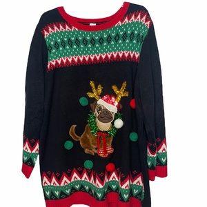 Holiday Time Pug XMas Sweater. Size 2X (20W/22W).